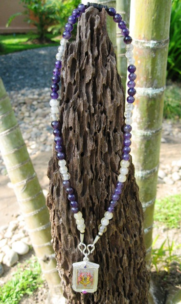 Amethyst and Silver and Gold Silk Thread Stone Amulet Chain