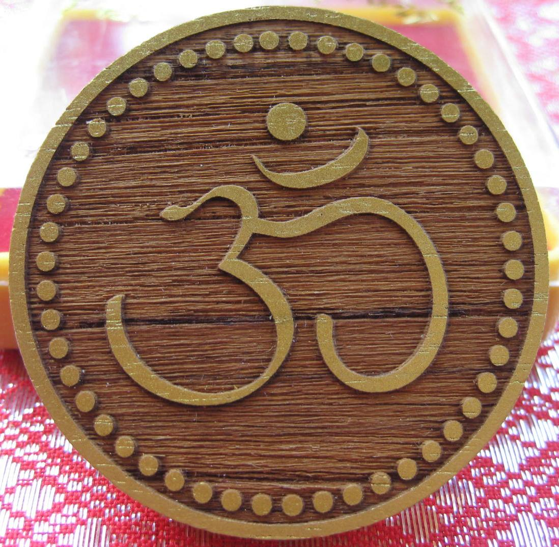 Wood Carved Ohm Symbol/Ganesha on the back