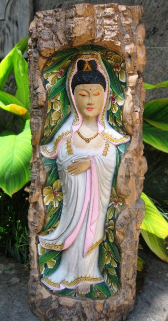 Hand Carved Guan Yin Log