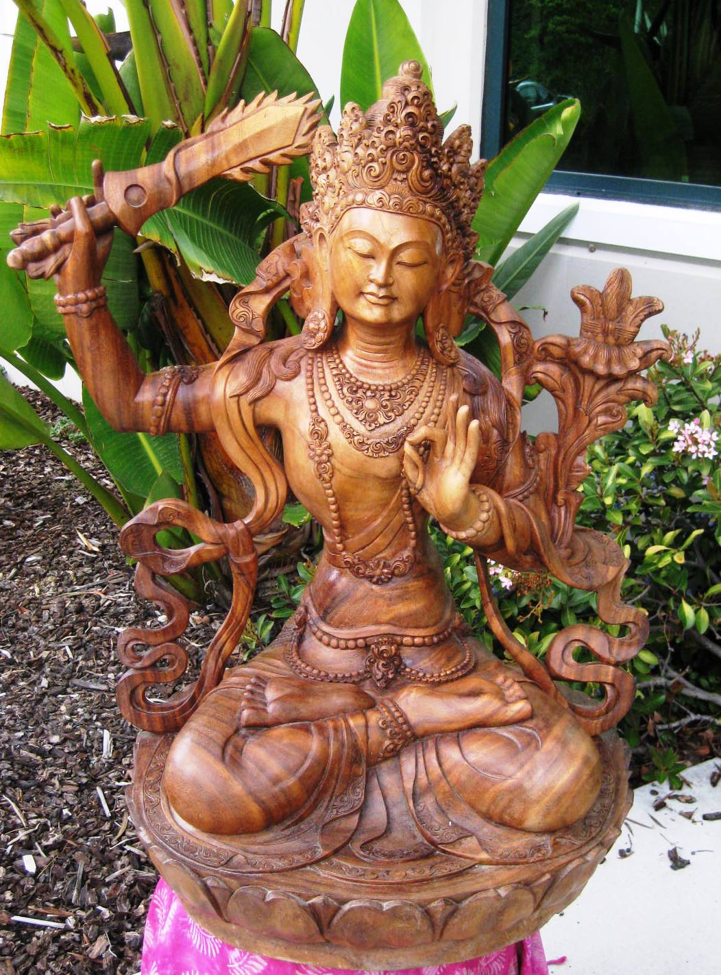 Hand Carved Large Manjushri God of Wisdom