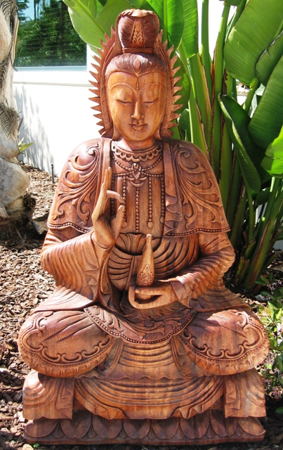 Hand Carved Life Size Guan Yin from Bali