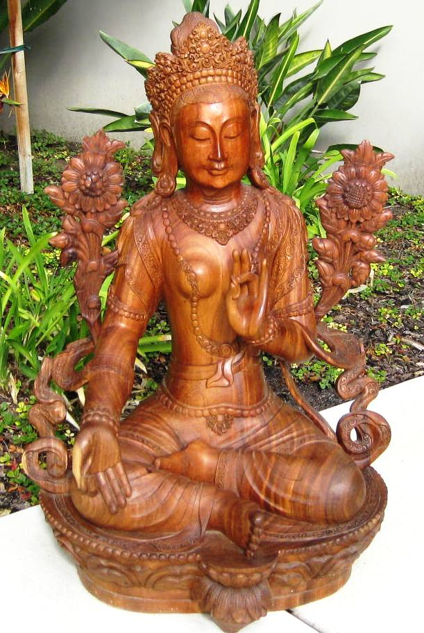 Hand Carved Large Seated Tara