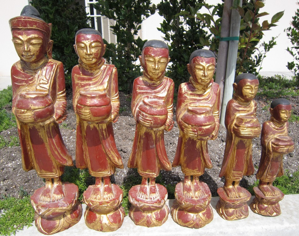 Set of Buddha and Disciples in Teak
