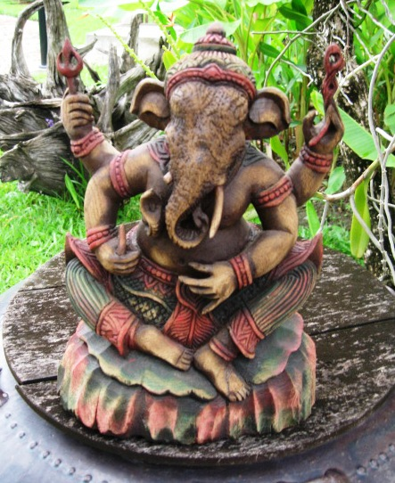 Hand Carved Teak Wood Ganesh in multi color