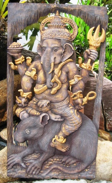 Hand Carved Teak Wood Ganesh & His Vehicle Teak Panel