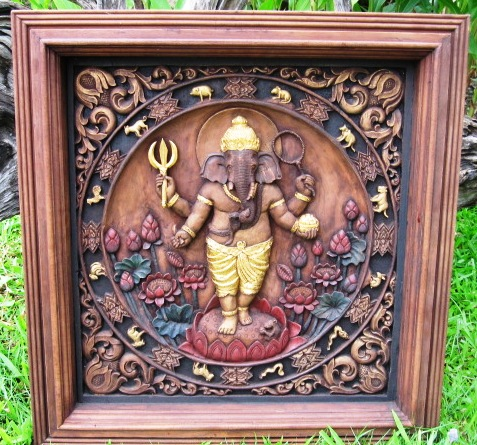 Hand carved Ganesha Wall Panel