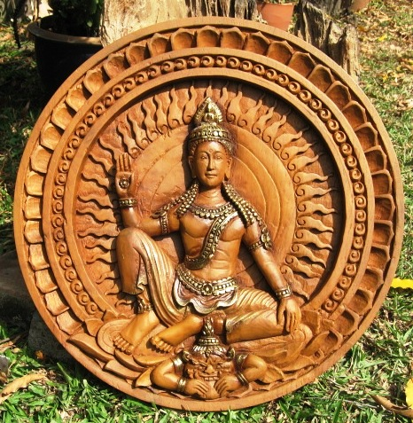 Hand Carved Jatukam Ramathep Teak Wood Both Sides
