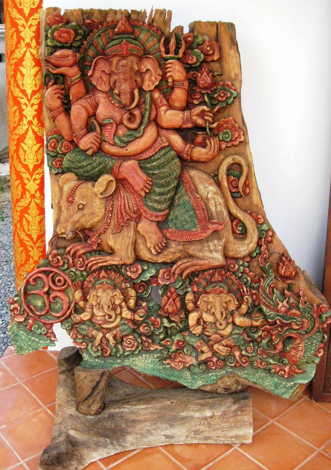 Hand Carved Teak Wood Ganesh from Solid Teak
