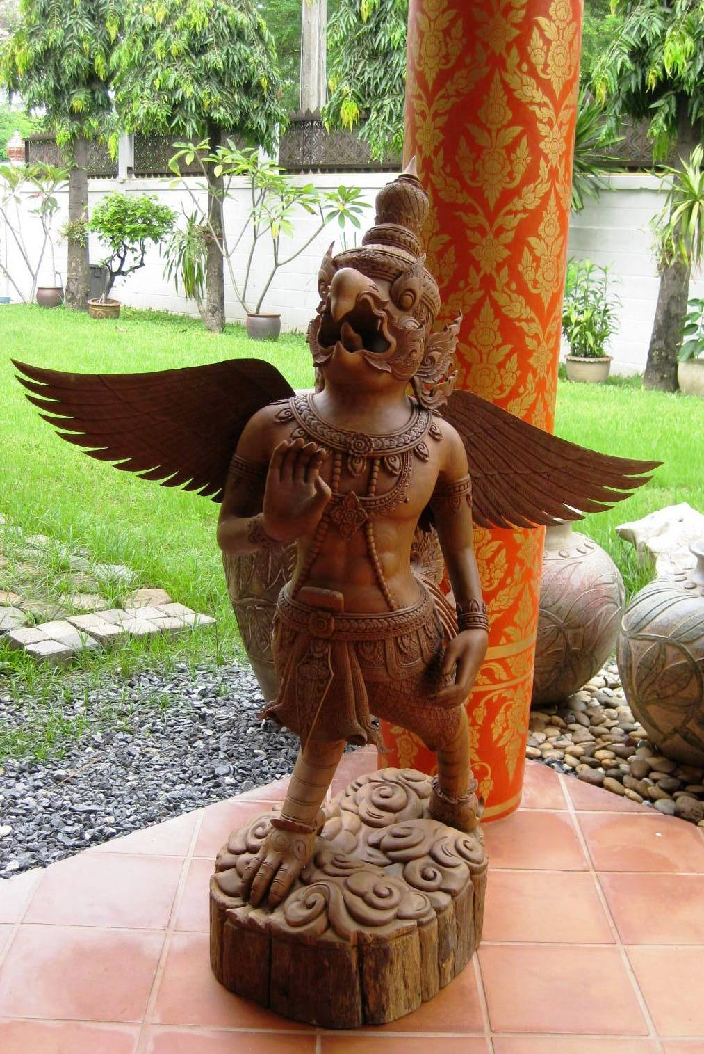 Magnificent hand carved teak wood garuda