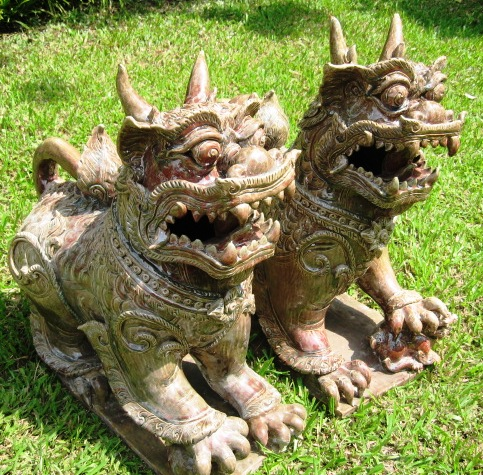 Pair of Giant Celadon Foo Dogs