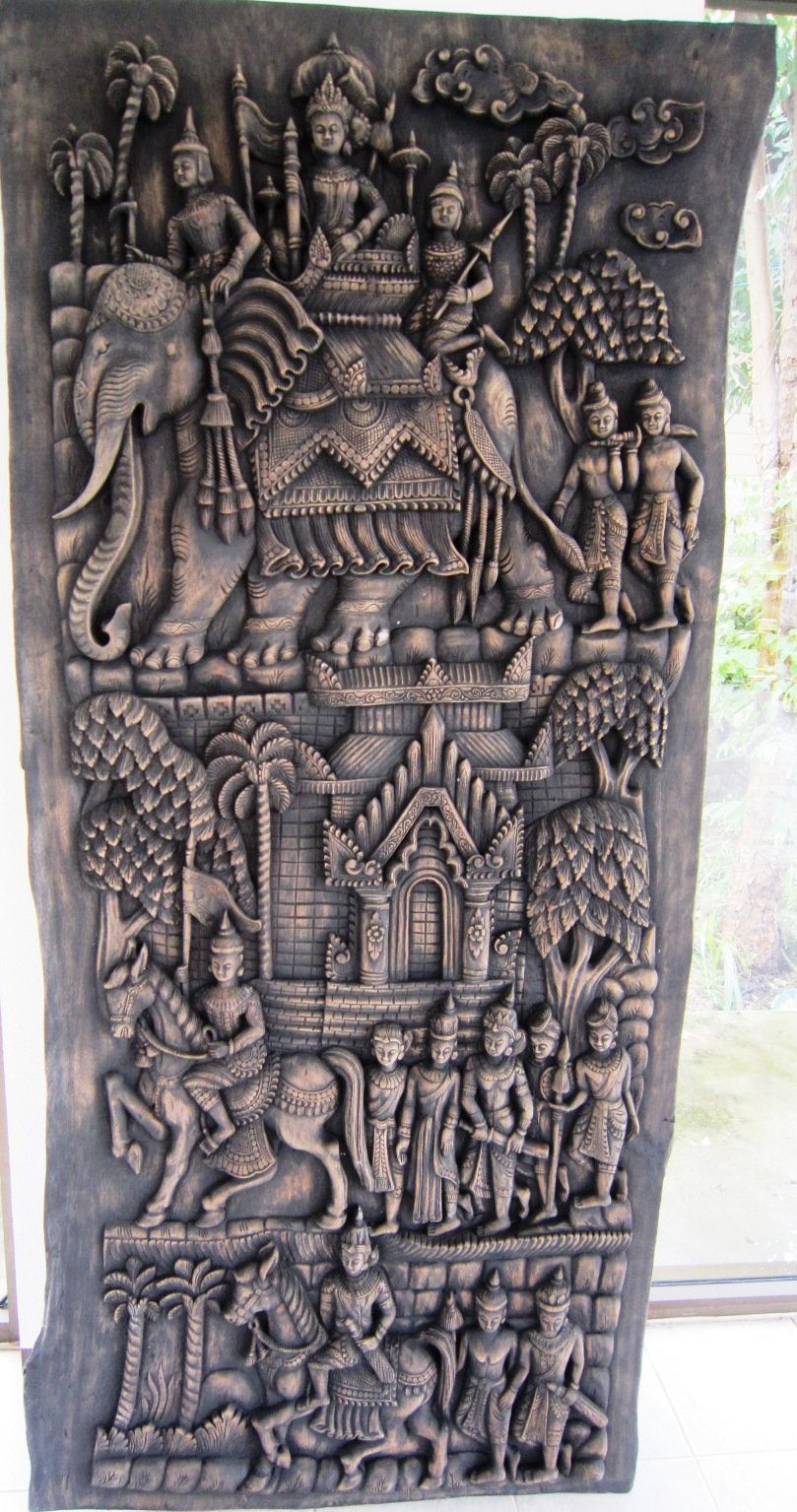 Hand Carved Solid Teak Panel Royal Elephants at war