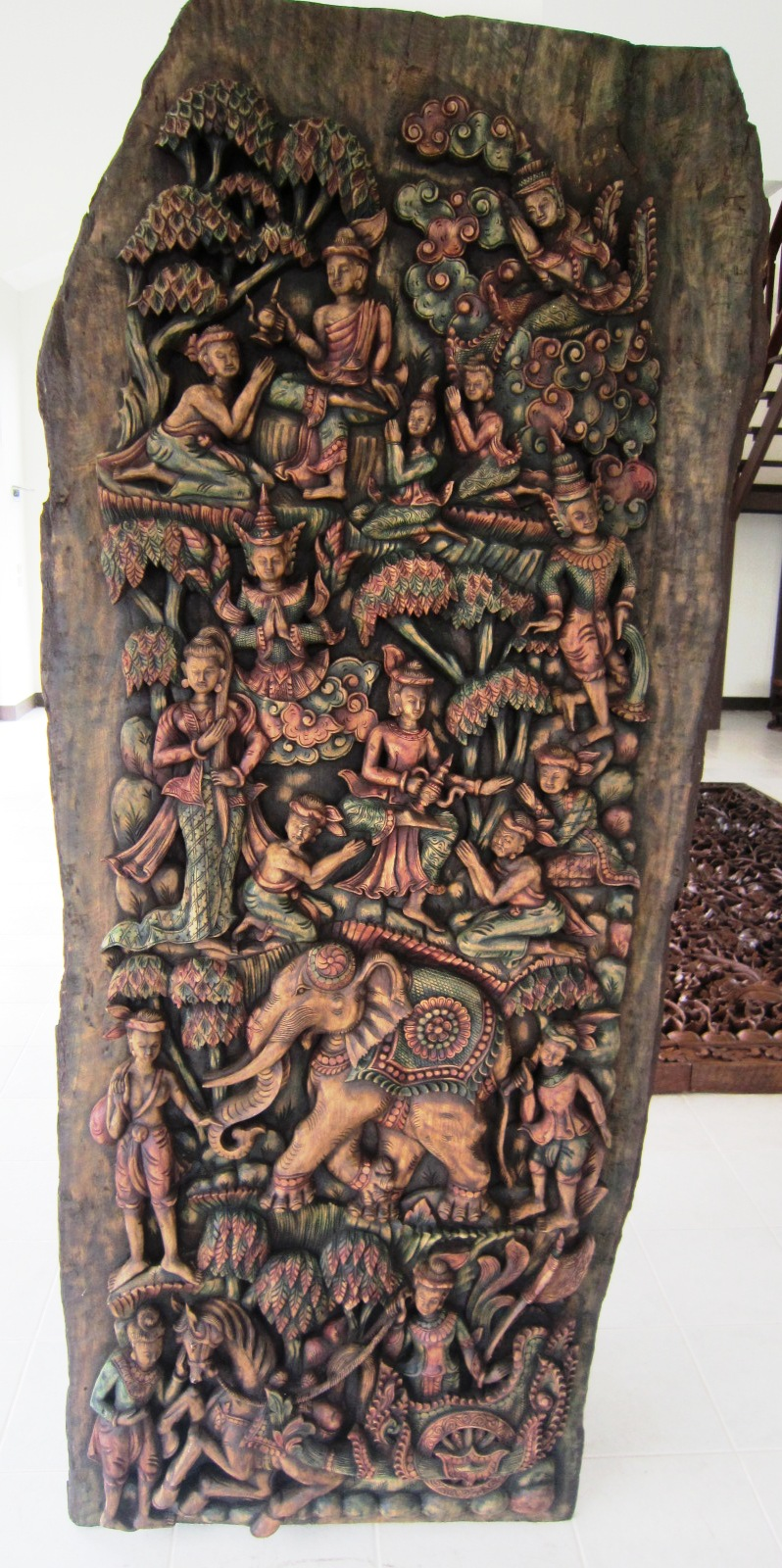 Hand Carved Solid Teak Panel Buddhist Angels & people Life Size