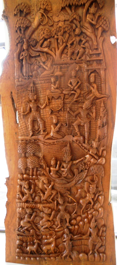 Hand Carved Solid Teak Panel Ramayana