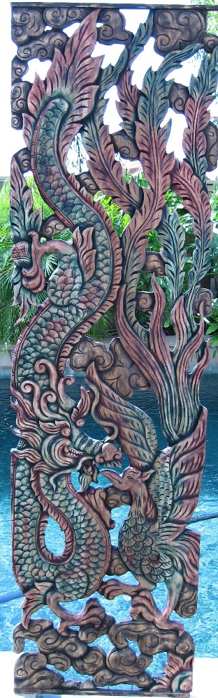Dragon and Pheasant Teak Panel
