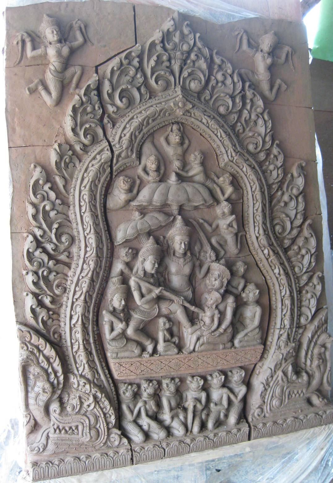 Hand Carved Terra Cotta Panel prior to baking