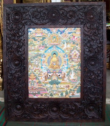 Custom Tibetan Thangka and carved wood frame