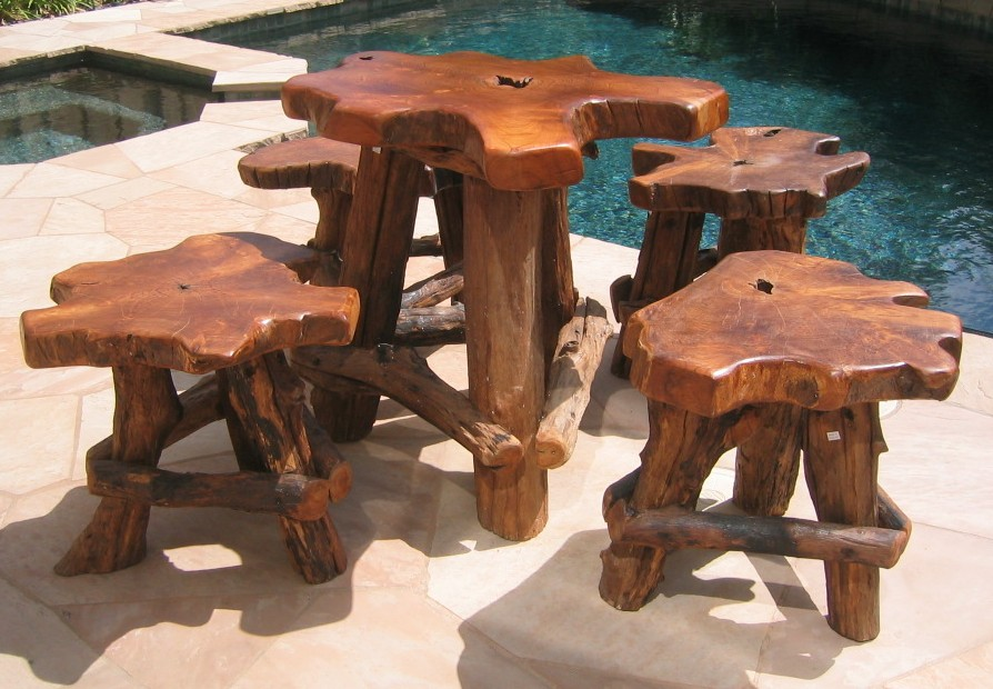 Hand Carved Golden Teak Furniture Set