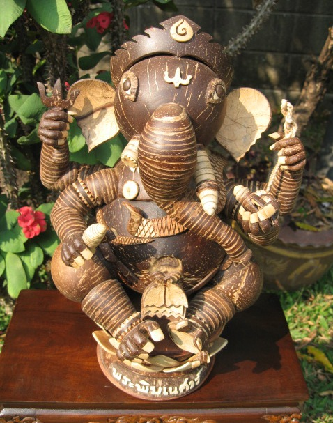 Hand Carved One Eyed Cococut Ganesh Statue