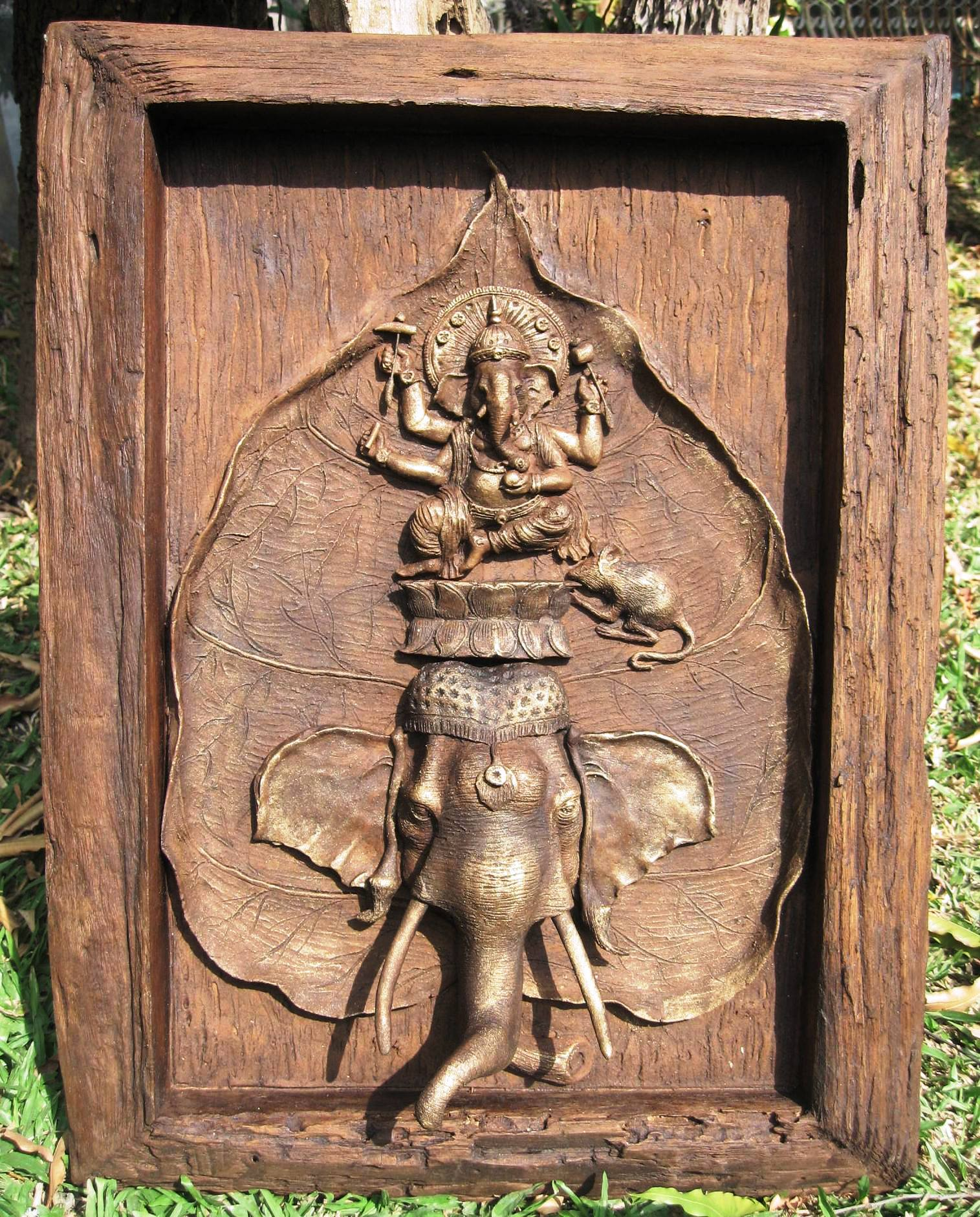 Sawdust Ganesh Carving Panel