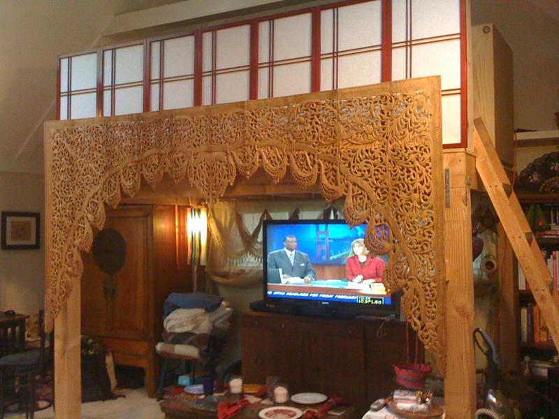 Client's display of hand carved teak arch