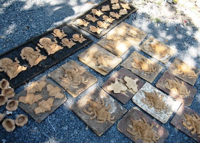 sawdust workshop drying the sculptures in natural sunlight & air