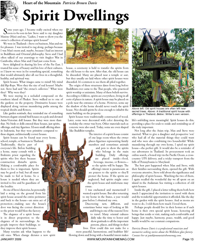 "Patricia Brown Davis: ""Spirit Dwellings"", mountainhomemag.com Jan 09"