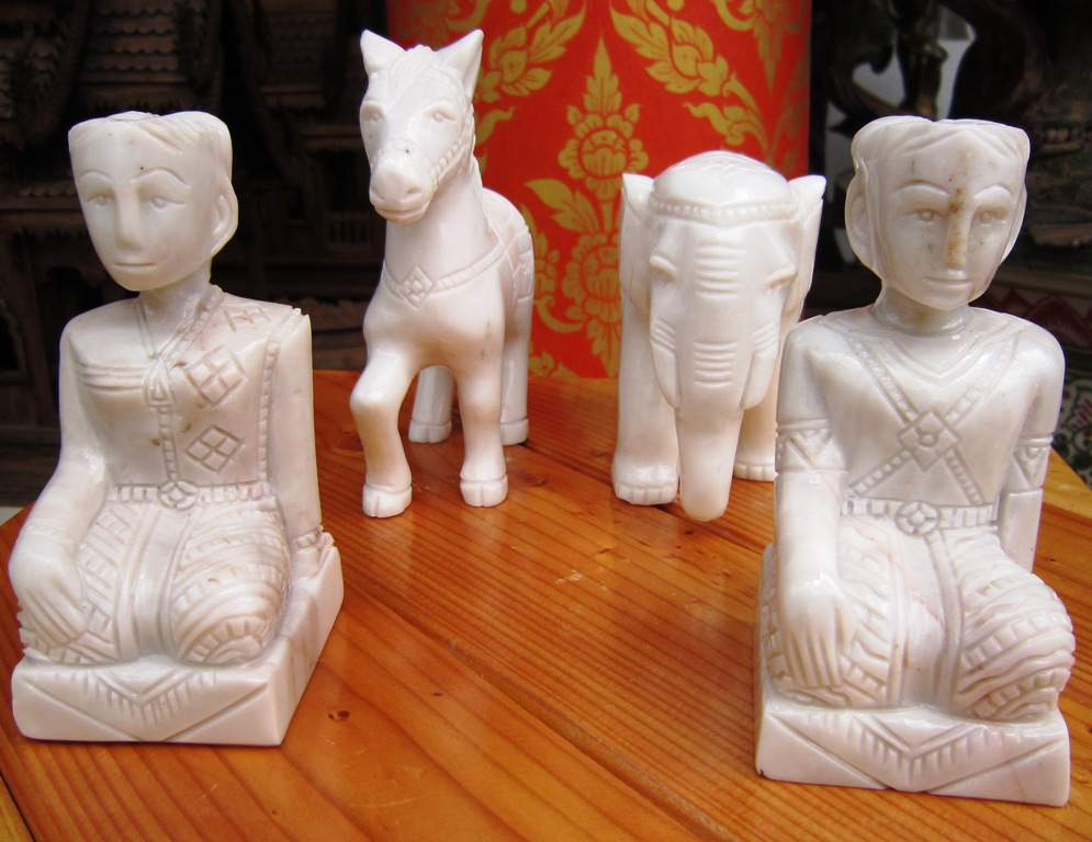 Set of Marble Spirit House Figurines