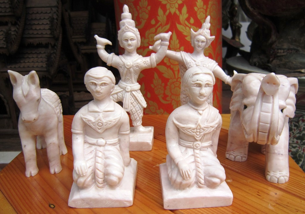 Set of Marble Thai Spirit House Figures