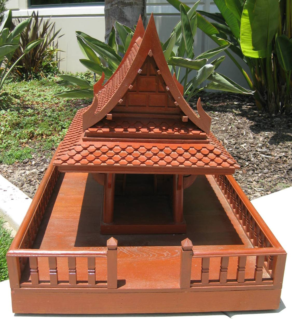 Ayutthaya Style Spirit House Golden Teak Wood