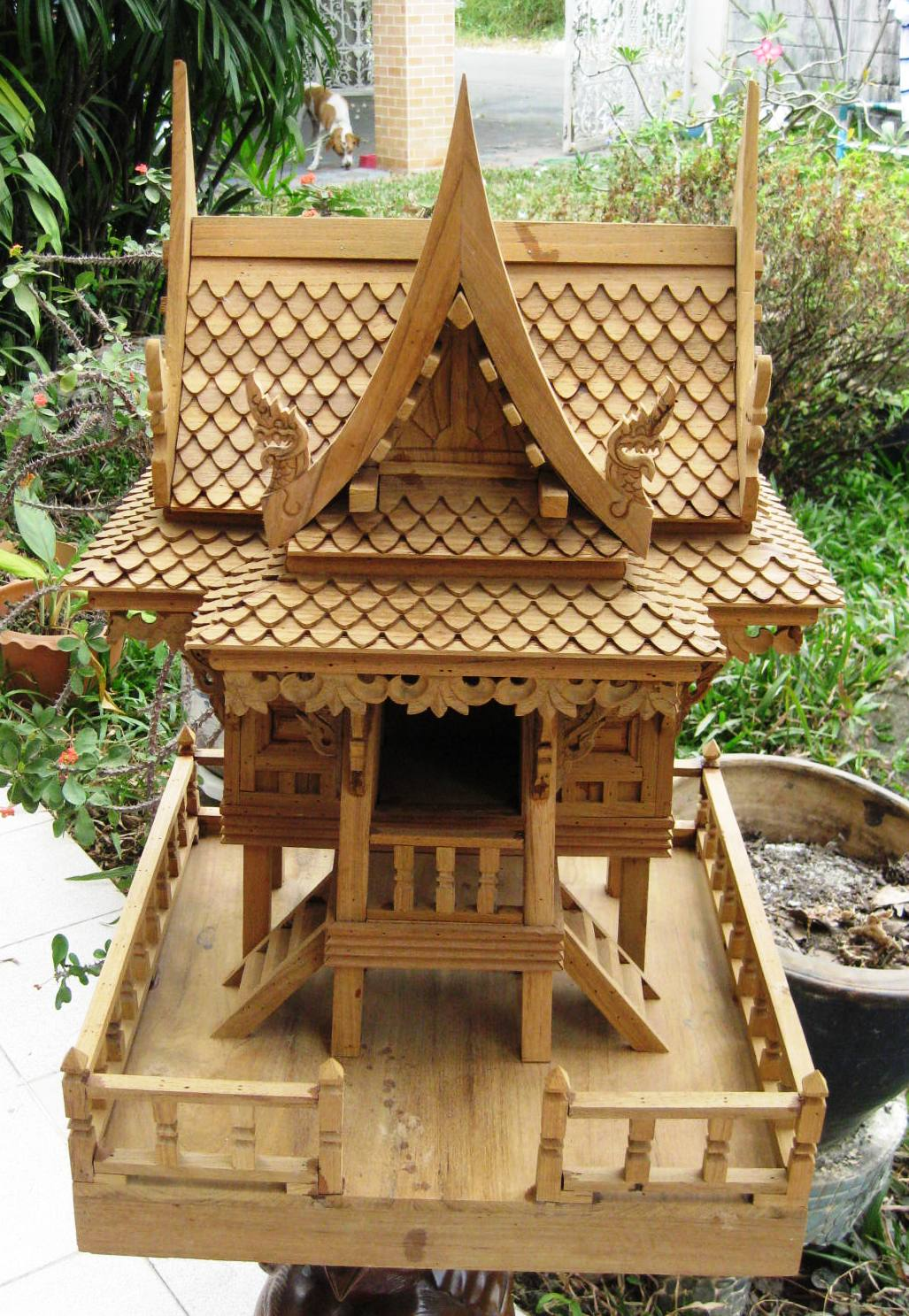 Thai Spirit House with Balcony Natural Teak