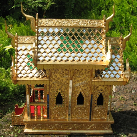 24kt Gold Leaf Thai Teak Wood Thai Spirit House