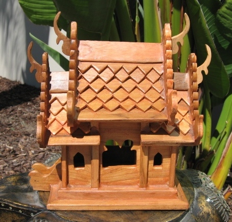 Teak Wood Thai Spirit House Natural