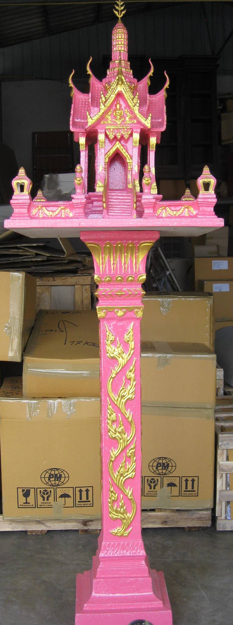 Thai Spirit House in pink