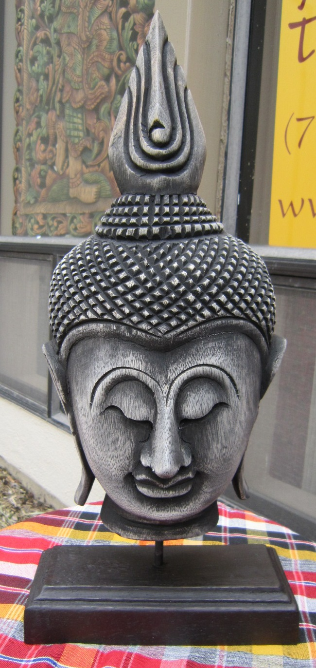 Half Buddha head on stand antique finish