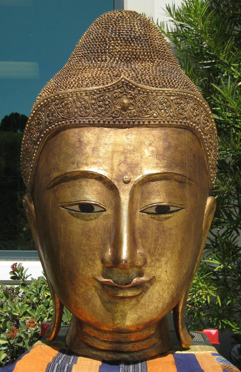 Larger than Life Size Half Buddha Head Gold LeafBuddha Head on Stand