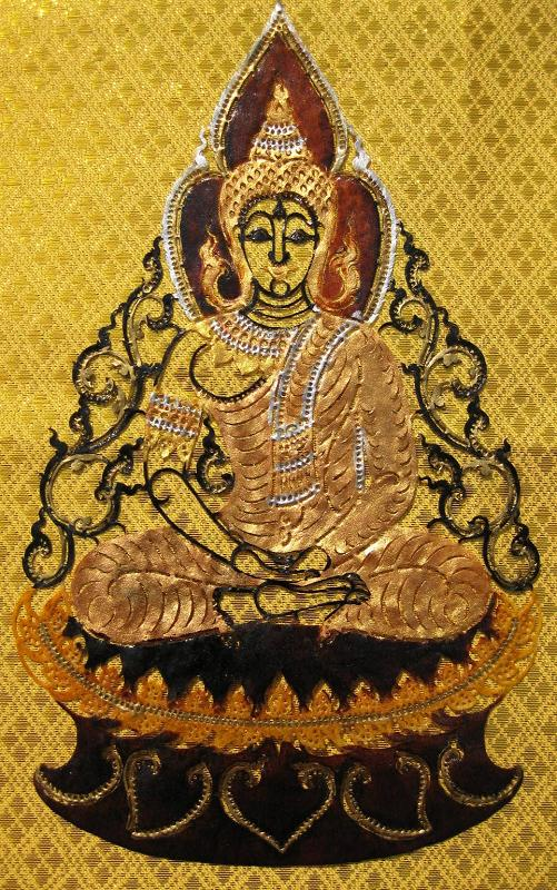 Hand Carved Leather Buddha on Lotus