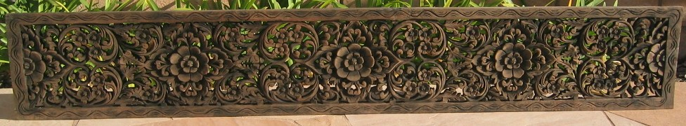 Hand Carved Teak Wood Panel 1'x6'