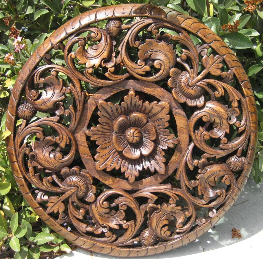 "18"" Round Teak Panel Oak Finish"