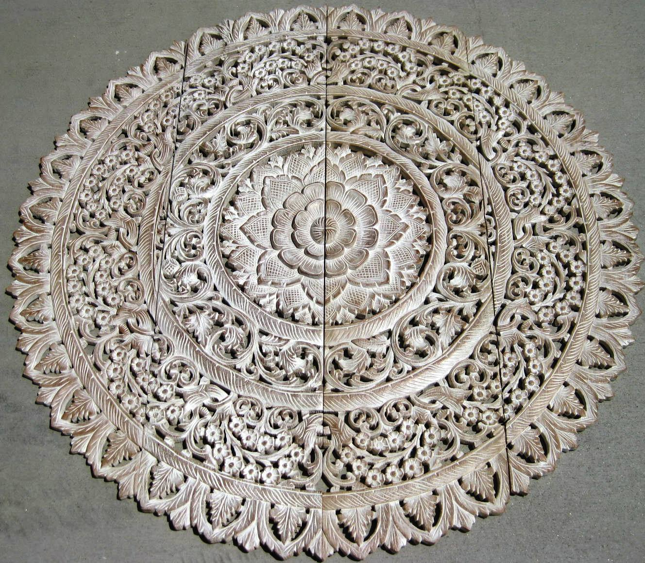 4' Round White Washed Teak Panel