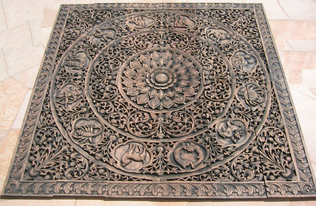 6'x6' Thai Zodiac Teak Wood Panel