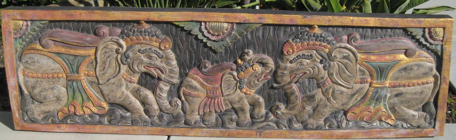 Extra Large Hand Carved Elephants Panel in Antique finish from Bali