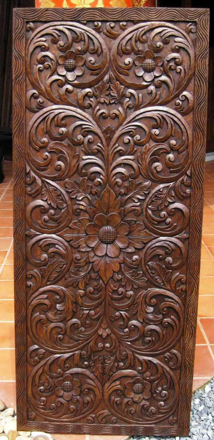 Hand Carved Teak Wood Panel