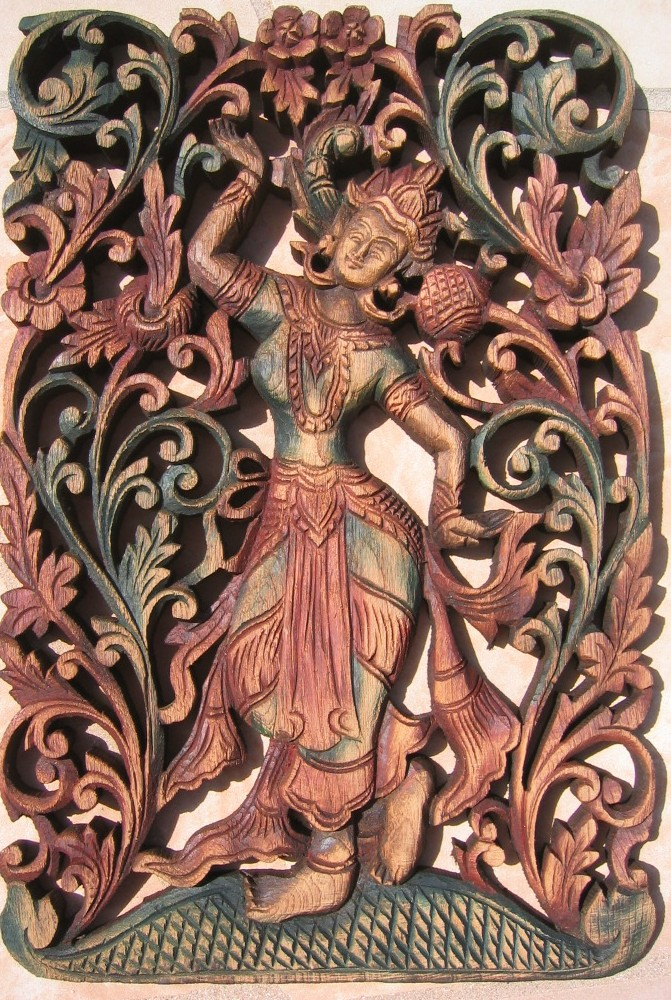 Thai Angel Teak Wood Panel