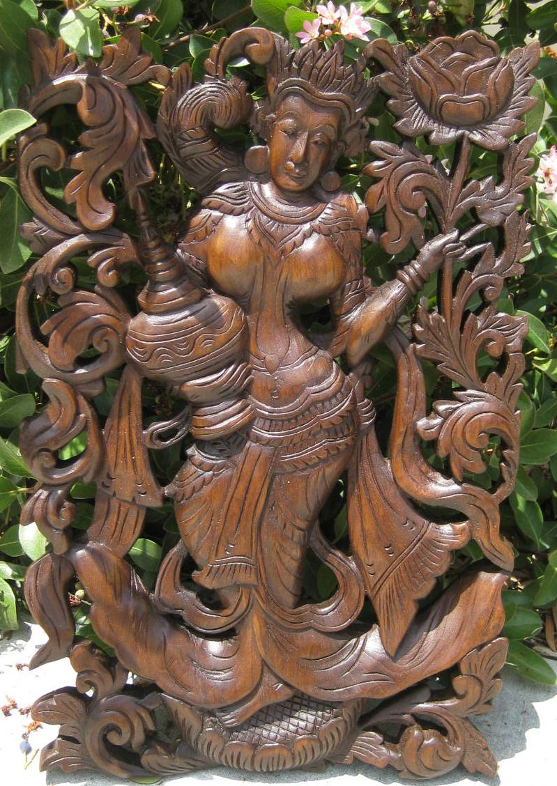 Thai Mythological Figure Teak Panel Mahogany Finish