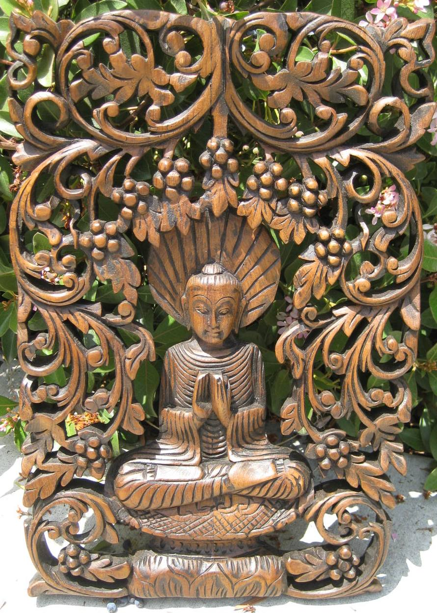 Buddha in Bodhi Tree Teak Panel