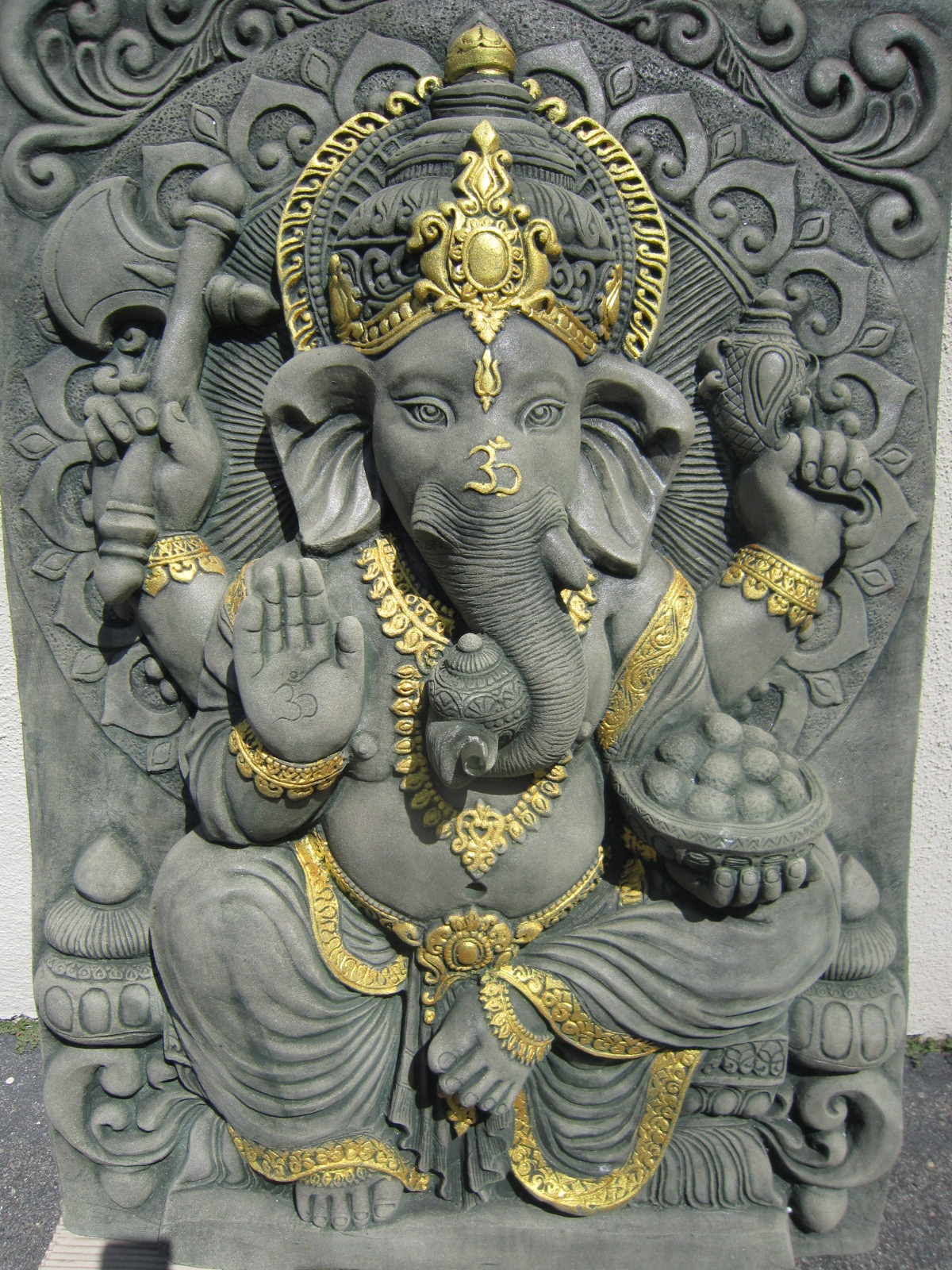 Hand Carved Sandstone Ganesh Wall Panel/fountain