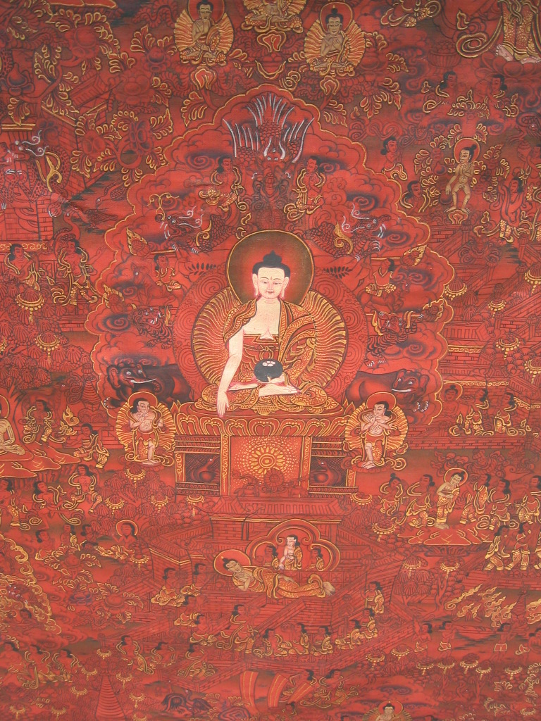 Buddha's Life Thangka from Tibet