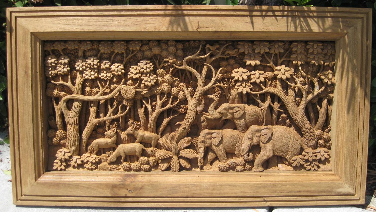 Teak Elephant in the jungle relief panel